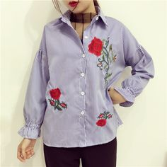 9dc9784c0c1 Striped Embroidery Women Blouses Tops Long Sleeve Shirt Blusas Mujer 2017  Summer Camisas Femininas Casual Chemise Femme C179
