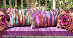 no sew Rag Rug pillows - Mark Montano . You are in the right place about DIY Rug fleece Here we of Patio Pillows, Diy Pillows, Decorative Pillows, Throw Pillows, Pillow Ideas, Latch Hook Rugs, Crochet Hook Set, Sewing Pillows, How To Make Pillows