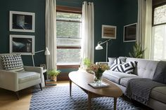 Dark Teal Living Room with Black and White Accents - Benjamin Moore Dragonfly, love this potentially for studio *