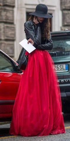 Street fashion tulle skirt and hat.