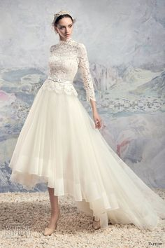 papilio 2016 bridal three quarter sleeves high neck heavily embellished lace bodice tulle skirt a line high low wedding dress chapel train (1629 turkana) mv