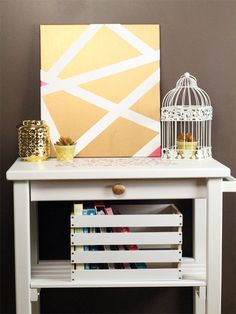 DIY Geometric Metallic Canvas Art | The Southern Couture for DawnNicoleDesigns.com