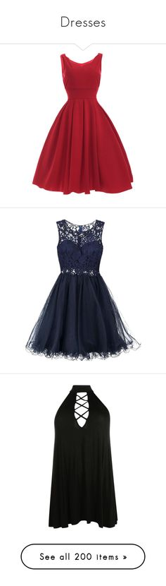 """""""Dresses"""" by swagbaexoxo ❤ liked on Polyvore featuring dresses, red, vestidos, vintage, red pleated dress, vintage day dress, pleated dress, red vintage dress, sweetheart neckline dress and blue cocktail dress"""