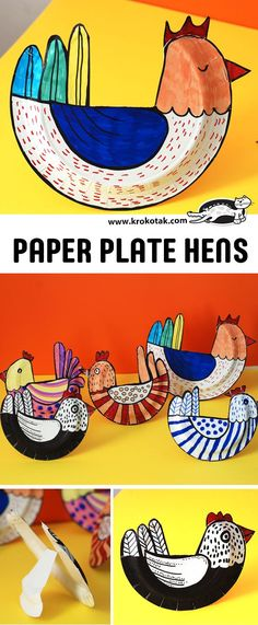 Tutorial - How to make Paper Plate Hens, Roosters, Chickens. Remarkably simple, Just a paper plate, scissors, stapler or glue, and whatever crayons, pens, paint, materials you want to decorate them with.