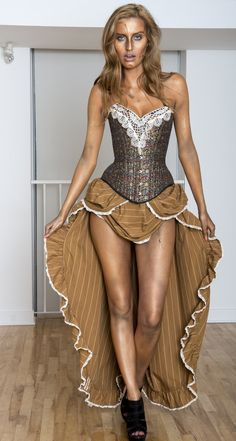 Steampunk Dress with Corset Burning Man Costume by LaBelleFairy, $599.00