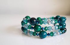 Items similar to Greeny Blue Swarovski Crystal and Chrysocolla bracelet on Etsy Swarovski Crystals, My Etsy Shop, Beaded Bracelets, Trending Outfits, Unique Jewelry, Handmade Gifts, Blue, Accessories, Shopping