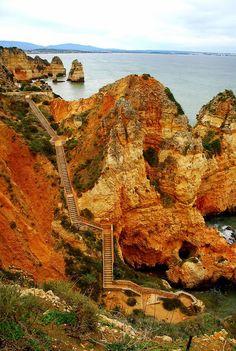 Stairs to Praia do Camilo Lagos / Portugal (by Izabela Stachowicz). It's a beautiful world Visit Portugal, Spain And Portugal, Portugal Travel, Faro Portugal, Portugal Trip, Places To Travel, Places To See, Beautiful World, Beautiful Places