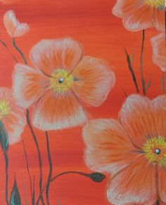 Orange Poppies - a painting at Painting Escapes in Downtown Plymouth,MI. Painting Escapes is art entertainment. Want a fun evening out? Want an unforgettable experience?  Our instructors guide you through every brush stroke to create your own masterpiece! Private Parties,Birthdays,Girls Night Out, Date Nights, Bachelorettes, Showers, Retirements, Team Building. We specialize in THEME PARTIES. Let's talk about your vision and create a Painting Escape! www.paintingescapes.com