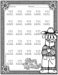 Task Shakti - A Earn Get Problem Need Extra Addition Practice? These Ten Pages Focus On Three Digit Addition. Most Problems Require Regrouping. No Prep, Just Print And Go. There Is An Answer Key Included. Illustrations And Fonts Copyright Dianne J. Math Worksheets, Teacher Resources, Math Sheets, 2nd Grade Math, Math Facts, Addition And Subtraction, Elementary Education, Math Centers, Dj Inkers