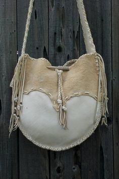 Buckskin leather tote  drum bag Crossbody bag  by thunderrose, $264.00