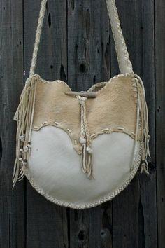 Buckskin leather tote  drum bag Crossbody bag  by thunderrose, $220.00
