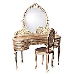Vintage Style Ladies Vanity Dressing Table With Mirror ThisNext | Home Design