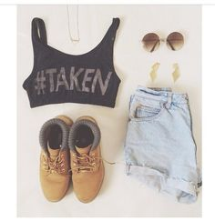 Crop top and high waisted short