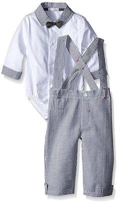 f674c2b31 Quiltex Baby Boys'' Oxford Bodysuit with Seersucker Collar and Cuffs and  Chambray Bowtie with Seersucker Suspenders: Mustache man bodysuit with  seersucker ...