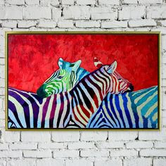 Hand-painted oil painting on canvas with wood frame. Let Zebra live with you.It must a good idea.