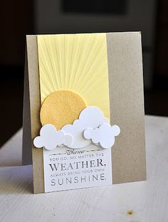 happy handmade card ... luv the cloud die cuts!!! ... sun rising behind clouds ... Sunrise Impression Plate ... Paper Trey Ink ...