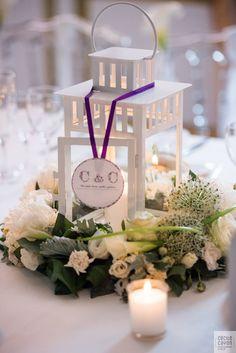 Décoration mariage blanc - lanternes mariage - centre de table -