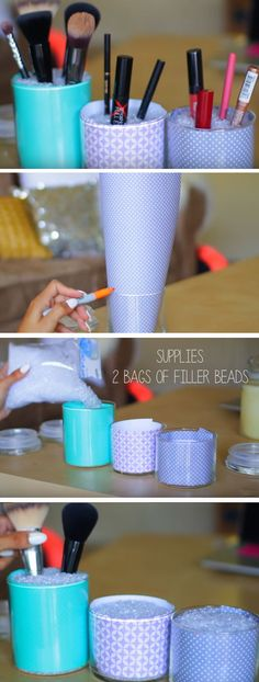 Use Jars to Tidy Makeup | Easy Spring Cleaning Tips and Tricks | DIY Teen Girl Bedroom Organization Ideas