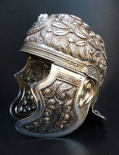 Silvered Roman parade helmet, century CE (reconstruction) by chrystal Roman Artifacts, Ancient Artifacts, Art Romain, Roman Armor, Roman Helmet, Helmet Armor, Ancient Armor, Empire Romain, Templer