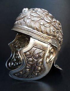 Silvered Roman parade helmet, 1st century CE (reconstruction)