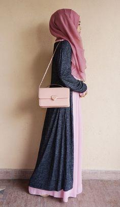 Pink & Grey hegab combination