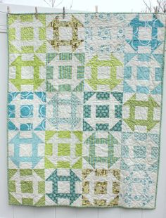 Churn Dash Quilt - turquoise and blue