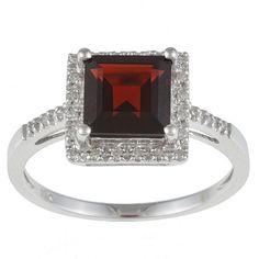 Viducci 10k Gold Garnet and 1/10 TDW Diamond Ring