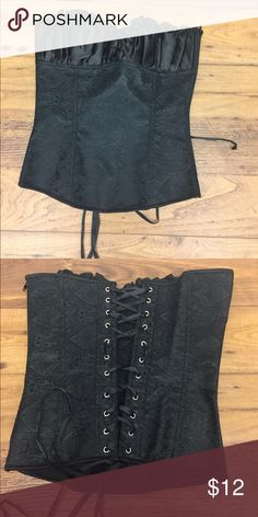 Black lace up corset Cute black lace up corset, never worn! Can fit a XS or S since the back is laced up with a zipper on the side. Tops