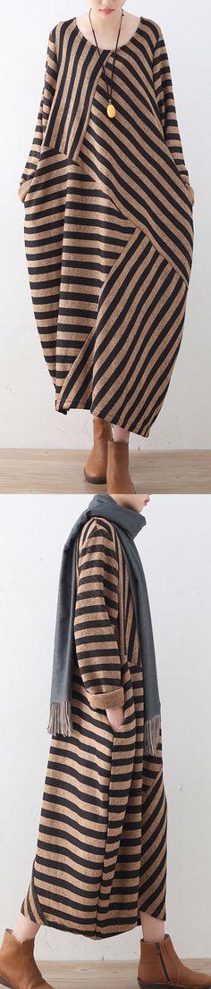 $62.00-khaki striped sweater dress oversized o neck patchwork winter dresses