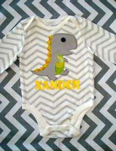 Xander the Personalized Dinosaur Onesie by Xannazoo on Etsy, $28.00