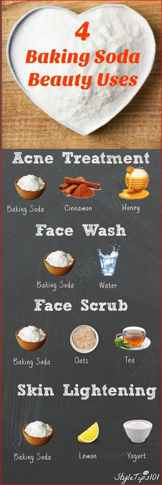 If you've ever run out of your favorite exfoliator, you've probably turned to baking soda! Baking soda is an all natural cleanser that has hundreds of uses, including beauty! Because baking soda is grainy, it's Baking Soda Beauty Uses, Baking Soda Uses, Baking Soda And Lemon, Baking With Honey, Baking Soda For Skin, Baking Soda Face Scrub, Homemade Skin Care, Diy Skin Care, Homemade Beauty