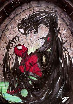 Spider-Man Vs. Venom Symbiote in Fan Art by Zuleta Miguel — GeekTyrant