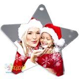 Simpatico addobbo a forma di stella stampato con la tua foto preferita per personalizzare con allegria il tuo albero di Natale o la tua casa!
