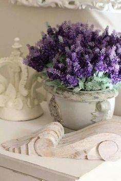 White ironstone looks beautiful filled with a lavender bouquet. Perfect for French Country and Cottage Style Living.