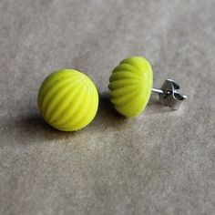 Tiny Vintage Yellow Melon Glass Earrings from Miss Malaprop