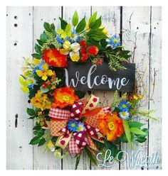 Welcome Wreath Spring Wreath Welcome Spring Wreath by LeWreath