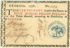 Georgia Colonial Currency in three colors to prevent counterfeiting.