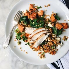 GRILLED CHICKEN BREAST WITH PEARL COUSCOUS, FETA AND CHILLI PUPMKIN SALAD 2