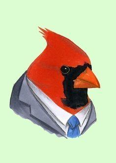 Cardinal suit illustration by berkeleyillustration. Found on etsy. $10