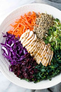Broccoli slaw recipe mixed with kale, cabbage, carrots and chicken for a healthy salad. Fresh crunchy vegetables are tossed with a sweet & spicy dressing, and the lean protein makes this salad satisfying as a complete meal.
