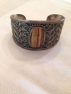 Lori Bonn - SS Cuff Bracelet with Brown Stone #LoriBonn