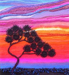 "Treelander Textile Art...a Fiberarts adventure!: Treelander: ""Dreamdusk"" tapestry with embroidery and knitting"