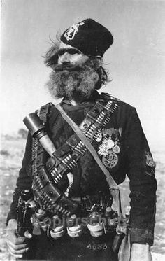 Chetnik member of a Serbian nationalist guerrilla force that formed during World War II to resist the Axis invaders 1943 Military Art, Military History, Diego Velazquez, World War One, Kaiser, Serbian, Guerrilla, War Machine, Chara
