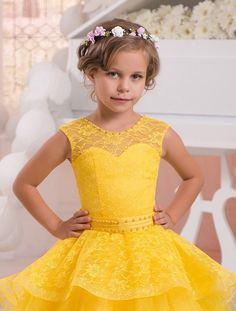 2017 Bright Yellow Flower Girl Dress Lace Pearls Holy Kids Communion Dresses For Weddings CHild Pageant Ball Gowns for Girls Flower Girls, Yellow Flower Girl Dresses, Princess Flower Girl Dresses, Disney Princess Dresses, Little Girl Dresses, Pink Princess, Girls Pageant Dresses, Gowns For Girls, Wedding Dresses For Girls