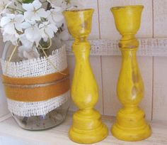 Sunny  Yellow Wooden Candlesticks by GTcottagecrafts on Etsy, $9.99