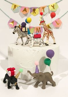 Baby Animal Party Pack- Baby bear, baby white tiger, baby elephant, baby giraffe, baby zebra Cake To Animal Themed Birthday Party, Circus Birthday, First Birthday Cakes, Animal Party, Birthday Table, Party Animals, Teen Birthday, Birthday Parties, Elephant Cake Toppers