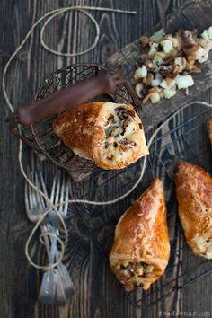 puff pastry envelopes with mushrooms + potatoes