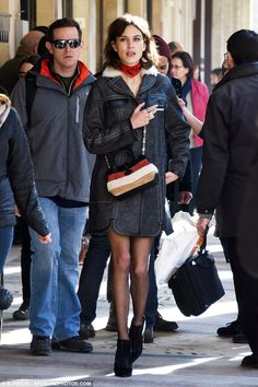 Well-heeled: Taking the streets of Paris, the fashion darling was seen sporting a denim ja...
