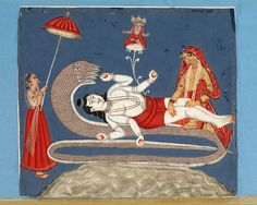 Vishnu and Ananta.Place of origin:Calcutta, India (made). Date:ca. 1850-1870 (made). Painting, in opaque watercolour on paper, the god Vishnu is shown recling on the coils of the serpent Ananta (or Shesha) during an intervals between periods of creation. The god Brahma springs from his navel.