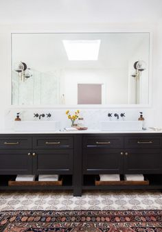 Master bathroom with black vanity in a California eclectic home./tiles by Tabarka Studio Bad Inspiration, Bathroom Inspiration, Bathroom Renos, Master Bathroom, White Bathroom, Bathroom Ideas, Bathroom Cabinets, Bathroom Designs, Black Vanity Bathroom